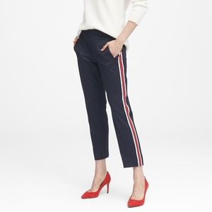 Women's Blue Avery Straight-fit Side-stripe Ankle